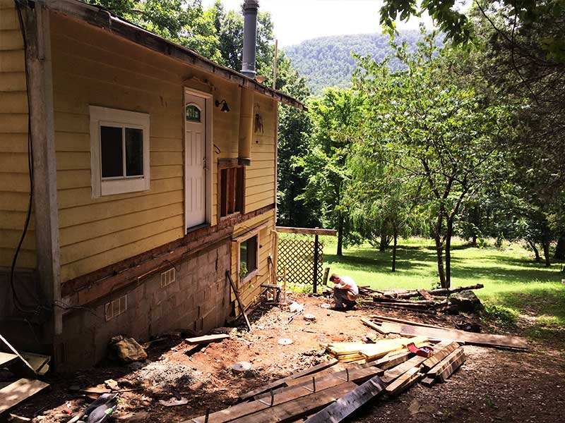 Cabin - front deck tear-off